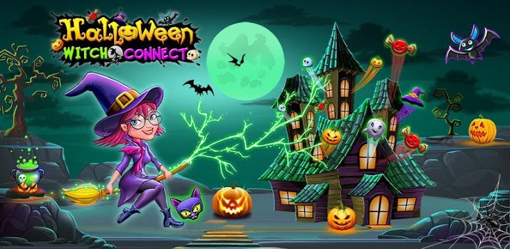 halloween witch connect match 3 puzzle game