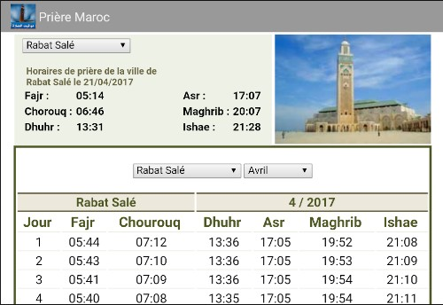 Schedules of prayers Morocco