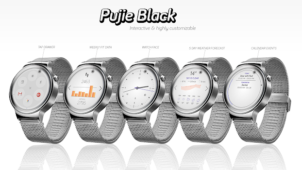 Watch Face - Pujie Black for Android Wear OS