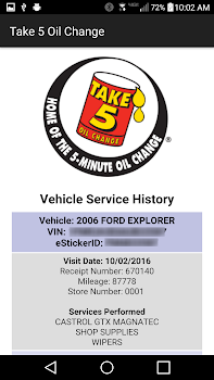 Take 5 Oil Change By Auto Data Inc Travel Local Category 66