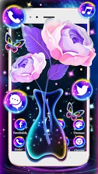 Galaxy Neon Rose Themes Hd Wallpapers 3d Icons By Cool Launcher