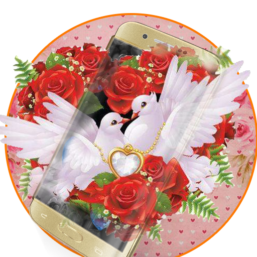Red Rose Pigeon Heart Theme - Love Theme Wallpaper