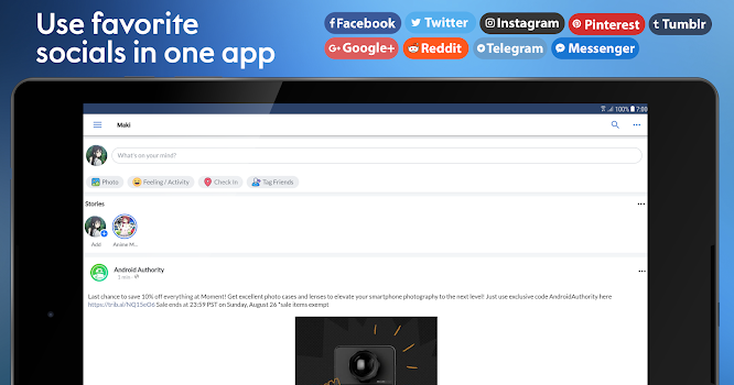 Maki: Facebook, Twitter & more socials in one app - by