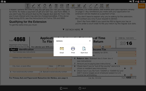 irs form 4868: sign income tax return eform - by pdffiller inc