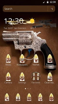 Theme Pistol Gun Gold Bullet And
