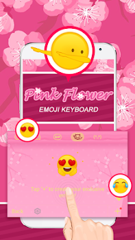 Pink Flower Themeemoji Keyboard By Fun Emoji Theme Creator