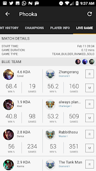 Matches for League of Legends