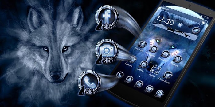 black cool wolf king theme by cool launcher theme
