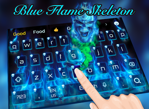 Blue hell flame skull keyboard theme by cool theme and